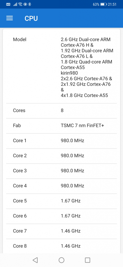 CPU X on Huawei Mate 20 Pro