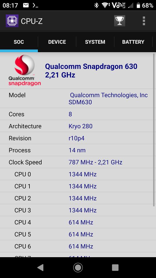 CPU-Z on Sony Xperia XA2