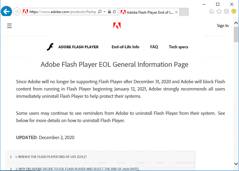 Adobe website informing about the end of Flash player