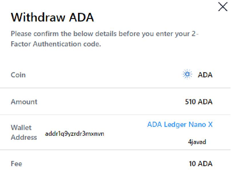 Withdraw ADA