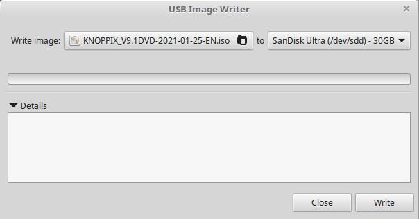 Writing Knoppix ISO image to USB stick using mintstick