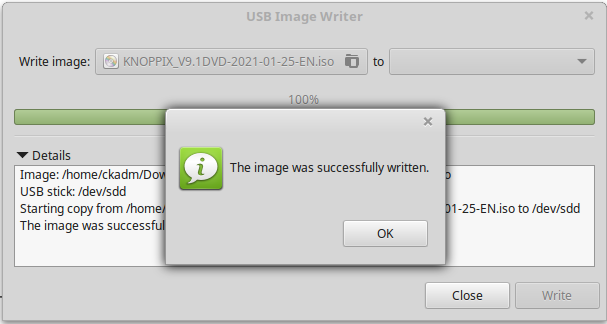 Knoppix ISO successfully written to USB stick