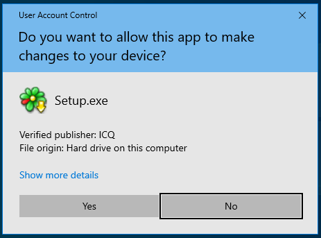 Windows asks for permission to install ICQ
