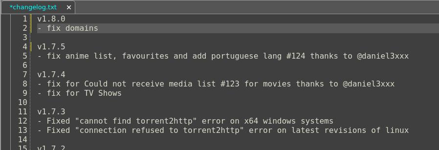 Modify changelog of Kodi add-on
