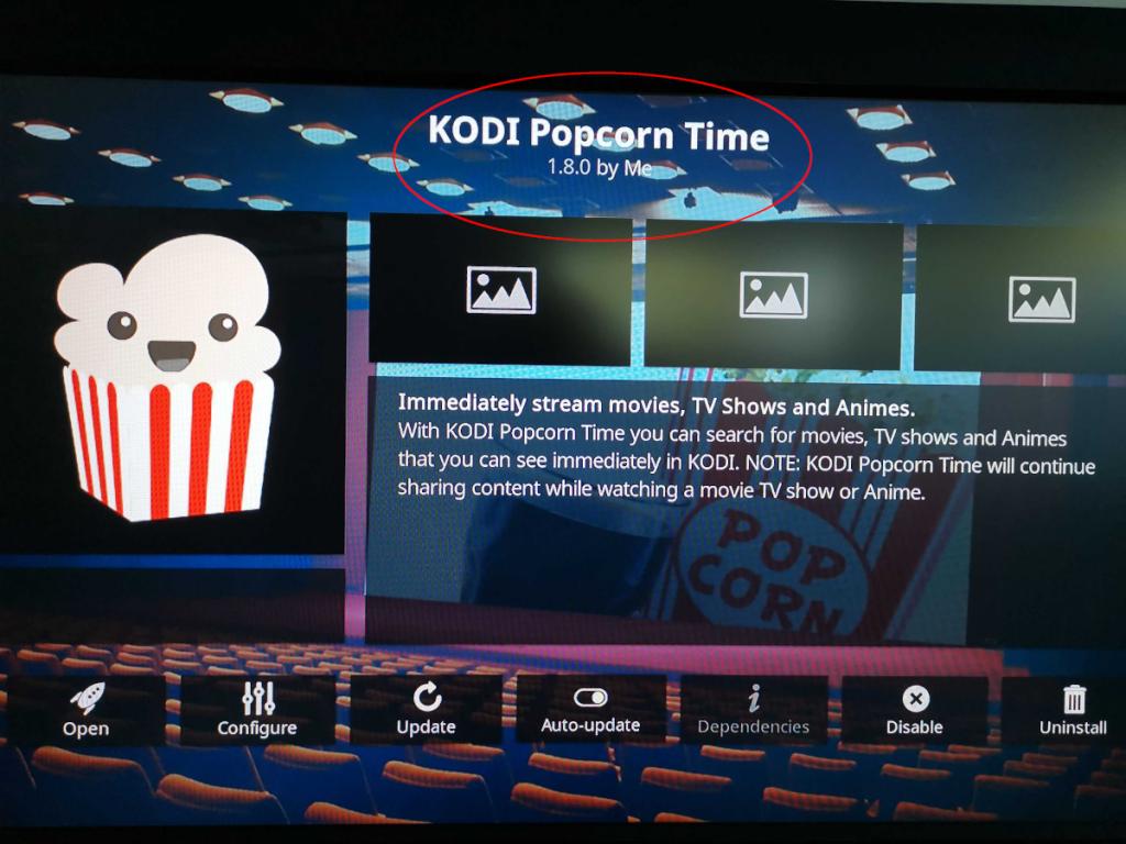 New Kodi Popcorn Time add-on installed