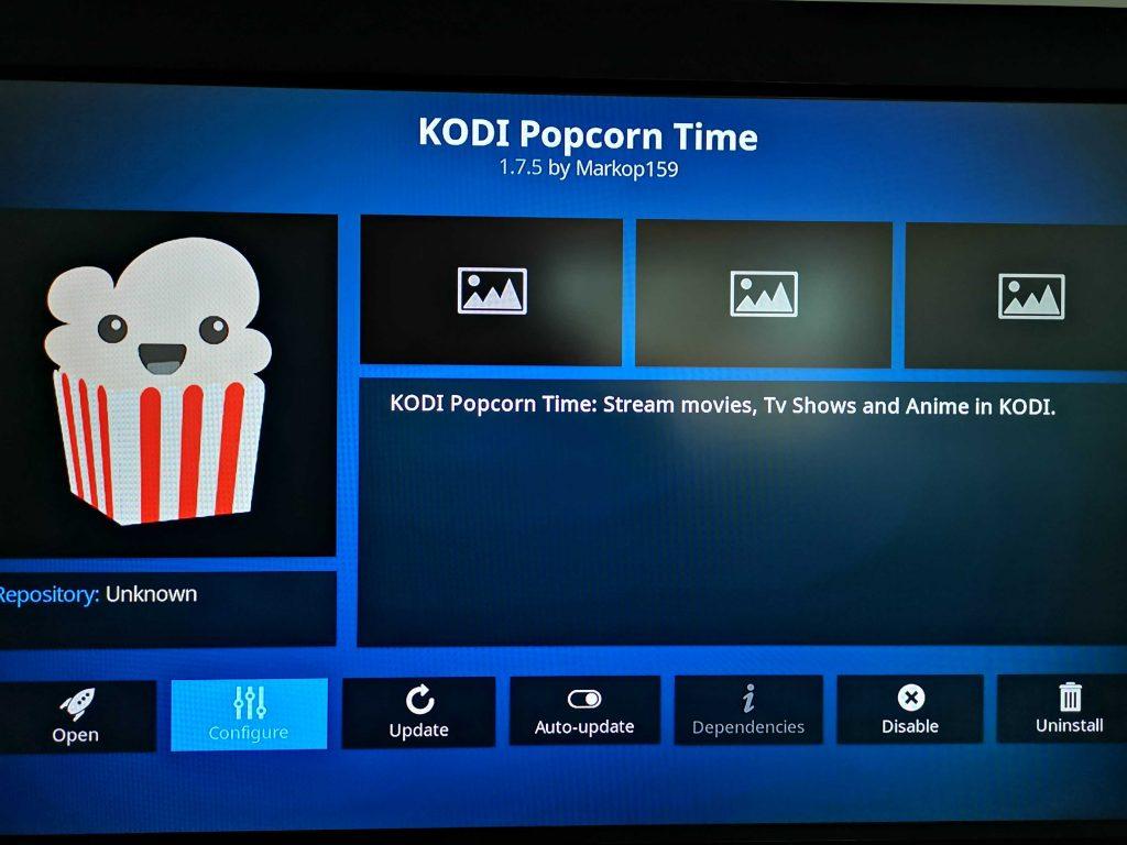 Kodi Popcorn Time add-on