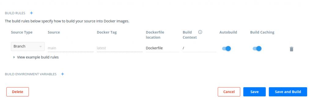 Screenshot from Docker Hub Autobuild build rules