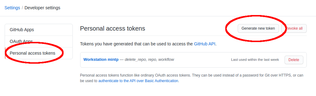 GitHub Personal Access Tokens