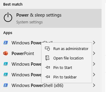 Start Windows PowerShell as administrator