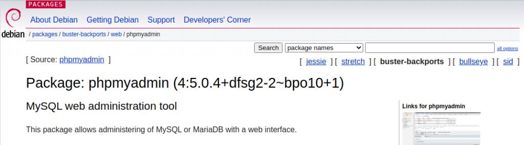 phpmyadmin package missing in buster release