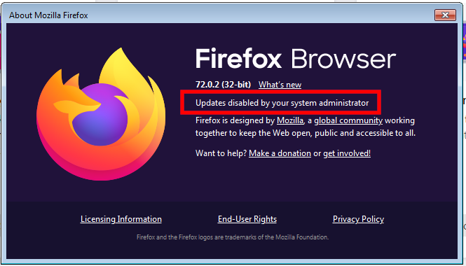 Disable automatic updates Firefox