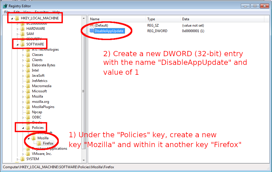 Disabling automatic Firefox updates using Windows Registry